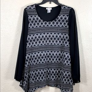 Brittany Black Top Blouse w/Lace XL